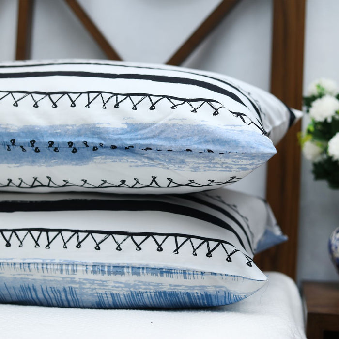 Distorted Blue Sateen Pillow Covers