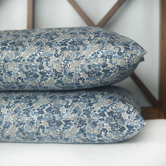 Floral Blue Sateen Pillow Covers