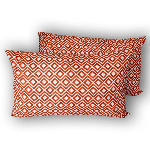 Geometrical Orange Pillow Covers - Cotton Passion