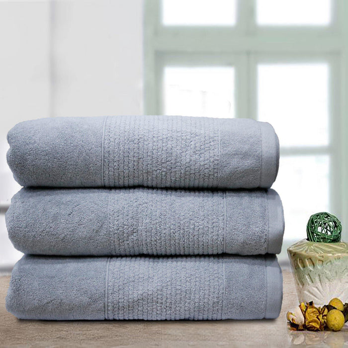 Thick Stripe Soft Towels Ash - Cotton Passion