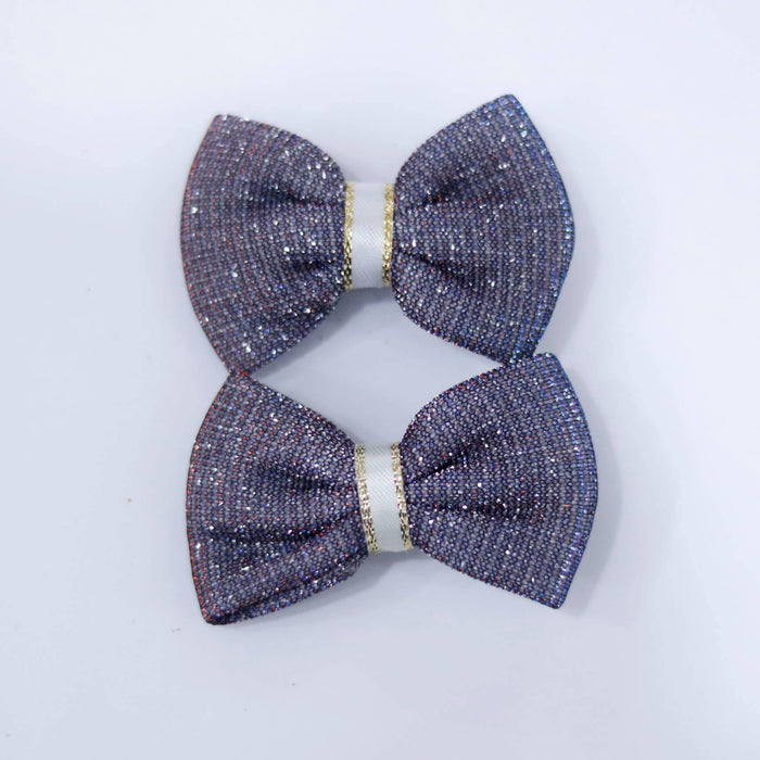 Sparkle Bow Hair Pin Pair - Cotton Passion