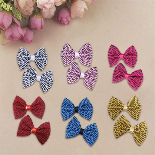 Speckled Bow Hair Pin Pair - Cotton Passion