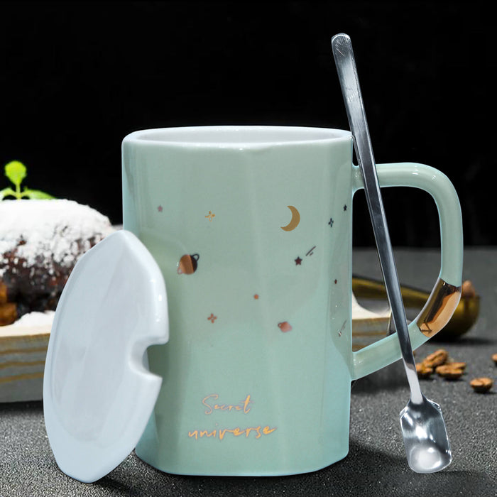 Secret Universe  Ceramic Mug with Lid & Metal Spoon