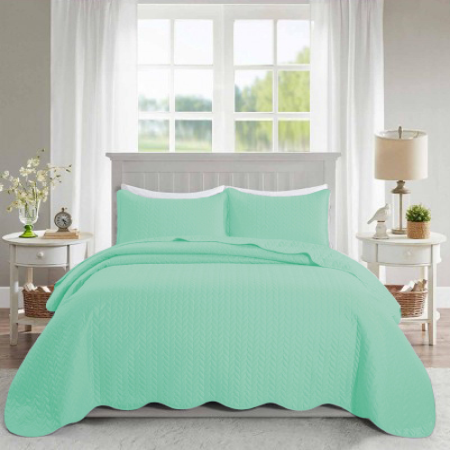 Ultrasonic Quilted Bedspread Mint - Cotton Passion