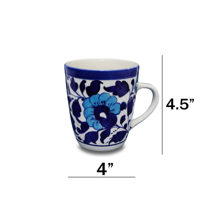 Floral Blue Ceramic Cup with Handle