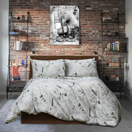 Newspaper Style Pure Cotton Quilt Cover - Cotton Passion