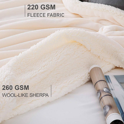 All Seasons Ultrasoft Sherpa Off White Blanket Throw - Cotton Passion