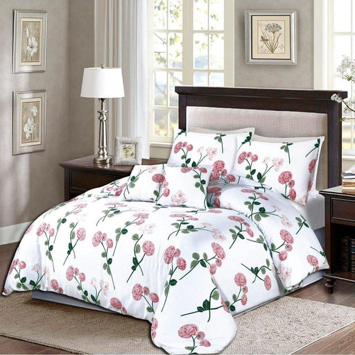 Floriferous White Bedsheet set - Cotton Passion