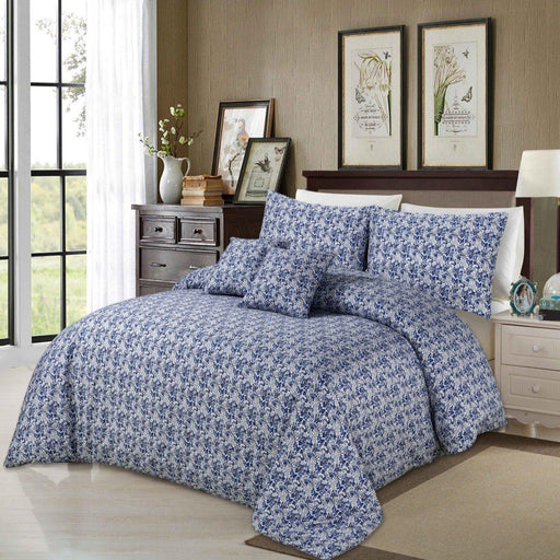 Floral Blue Bedsheet Set - Cotton Passion