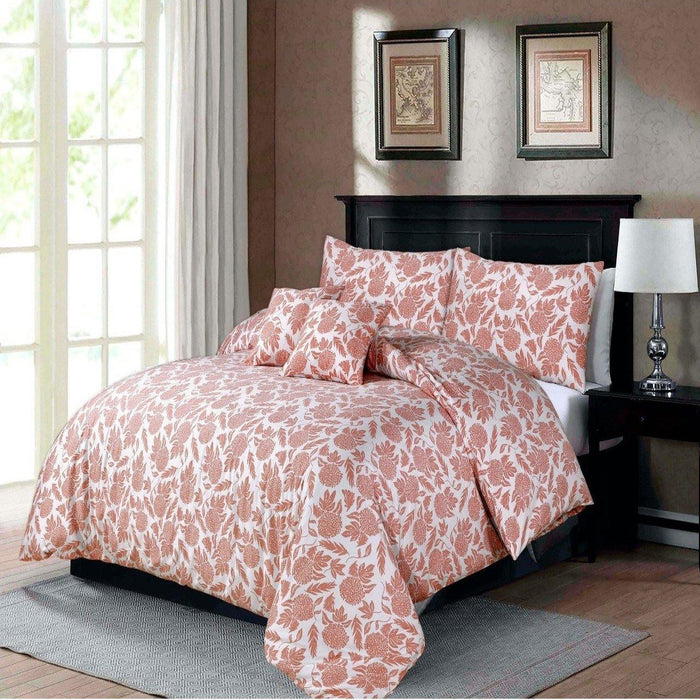 Peachy Floral Bedsheet Set - Cotton Passion
