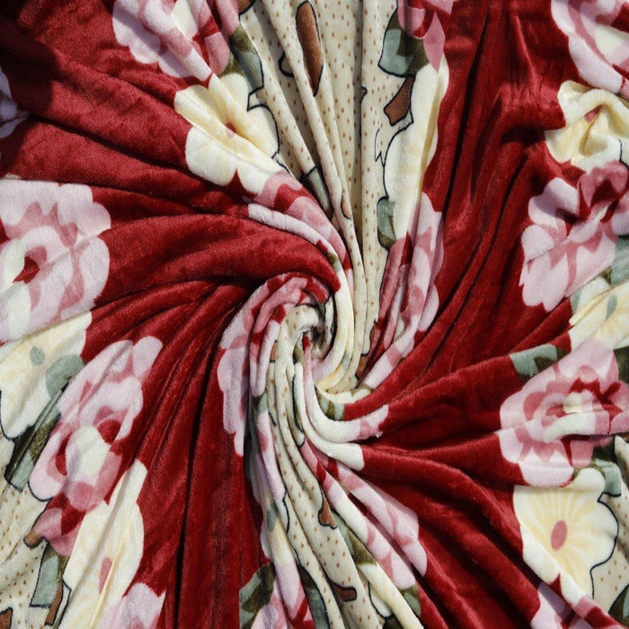 Floral Red Fleece AC Blanket - Cotton Passion