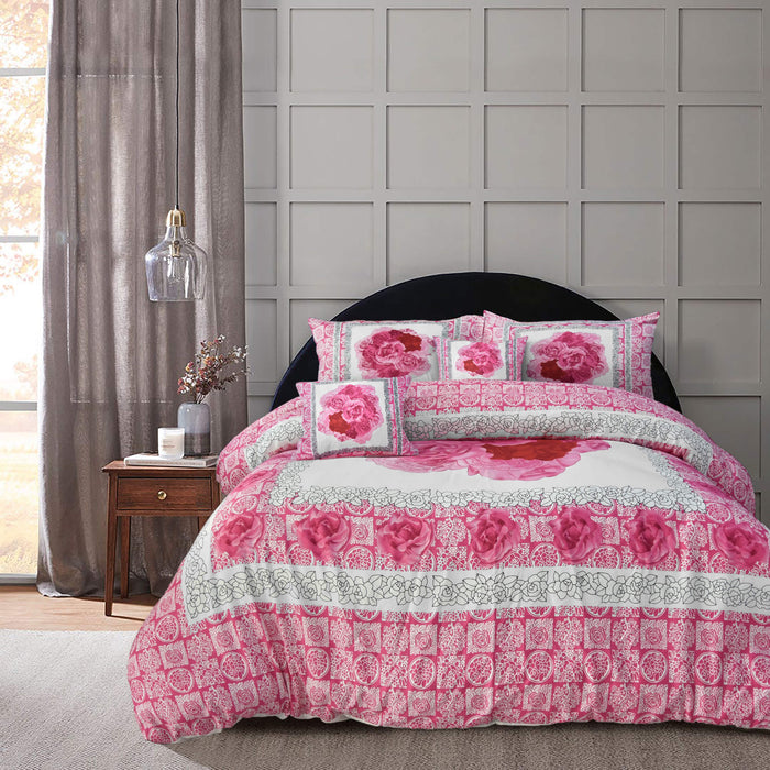 Pink Rose Panel Cotton Sateen Bedsheet Set