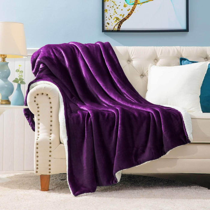 All Seasons Ultrasoft Sherpa Plum Blanket Throw - Cotton Passion