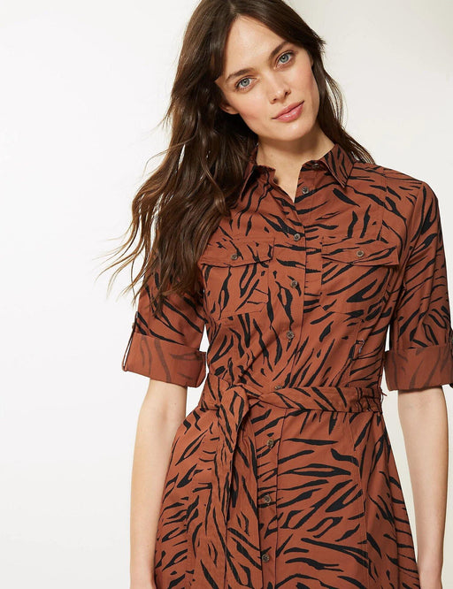 Pure Cotton Animal Print Shirt Dress - Cotton Passion
