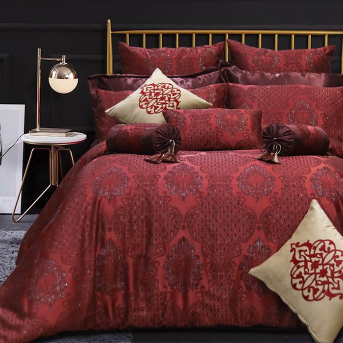 Jacquard Red Bridal Set 14 Piece Set - Cotton Passion