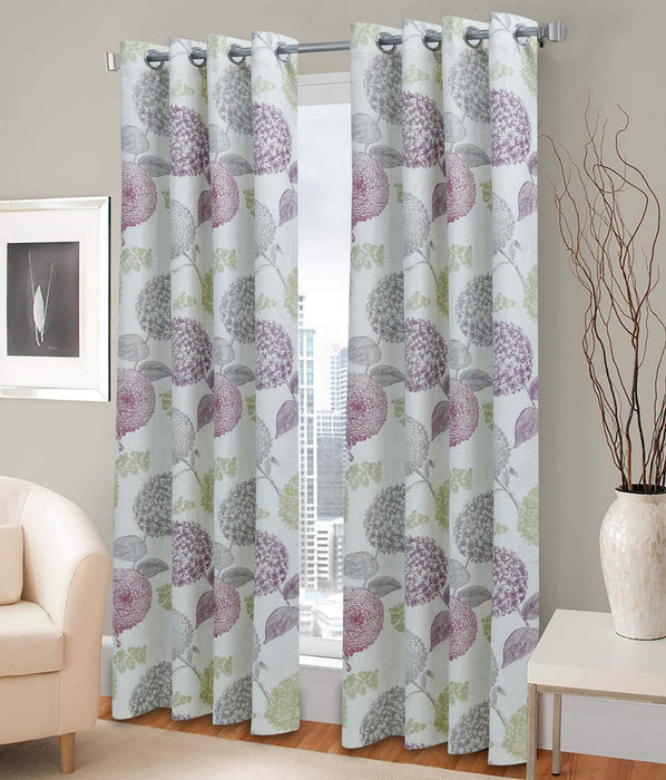 Rotary Floral Polyester Light Filtering Single Curtain Panel - Cotton Passion