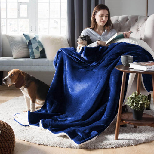 All Seasons Ultrasoft Sherpa Royal Blue Blanket Throw - Cotton Passion
