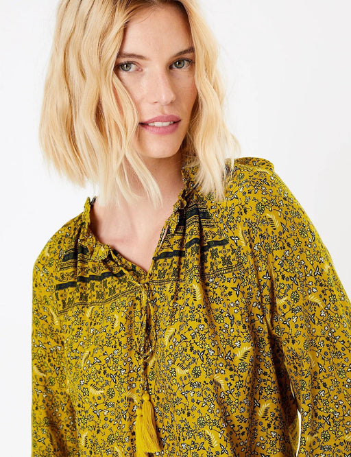 Tassel Detail Yellow Mix High Neck Blouse - Cotton Passion