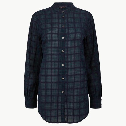 Pure Cotton Checked Long line Shirt Blue - Cotton Passion