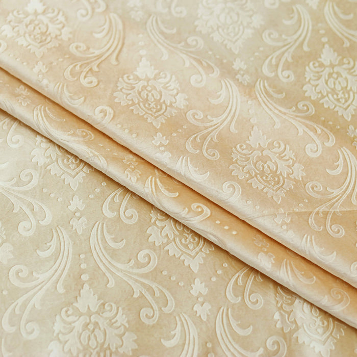 Silky Embossed Velvet Curtains Beige