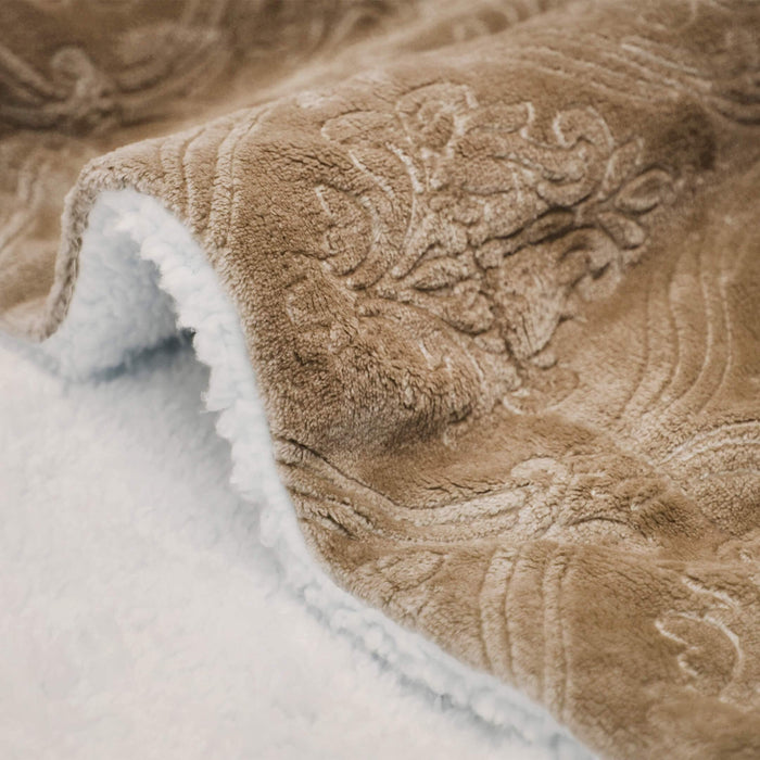 All Seasons Floral Embossed Sherrpa Blanket - Cotton Passion