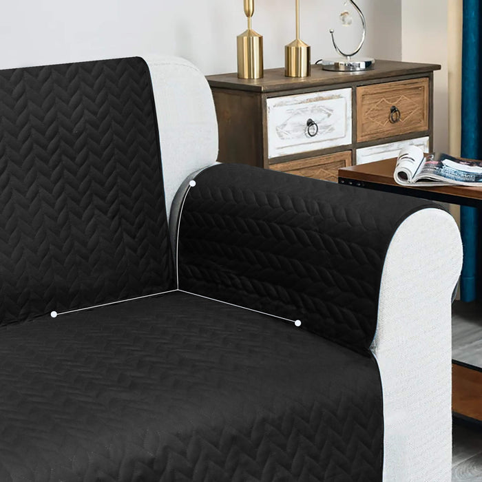 Ultrasonic Quilted Sofa Covers Set Black