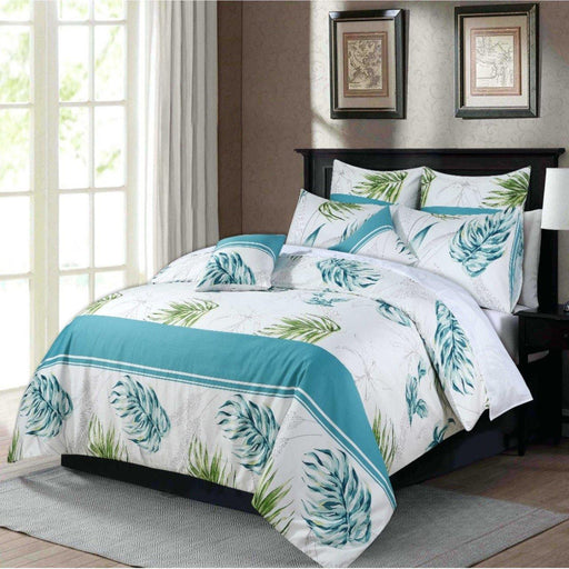 Teal Monstera Bedsheet Set - Cotton Passion
