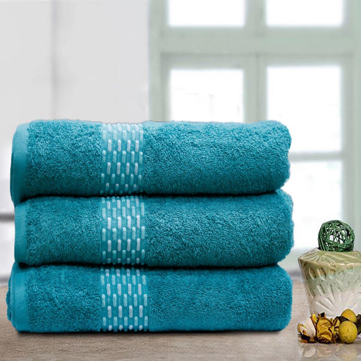 Teal Weaved Soft Towels - Cotton Passion