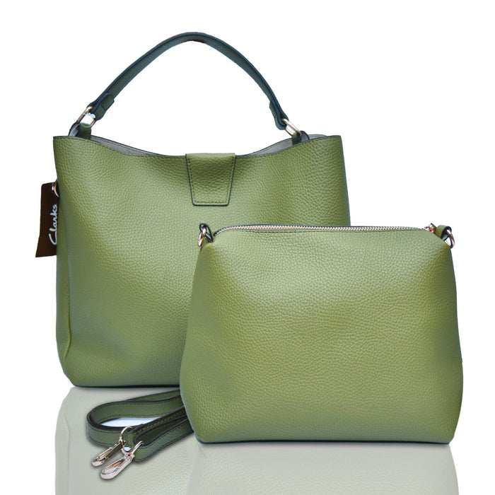 Clarks Textured Green Bag with Pouch