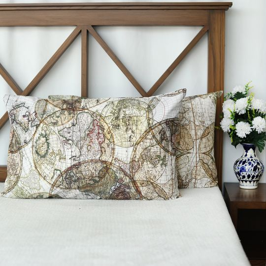 World Globe Cotton Pillow Covers