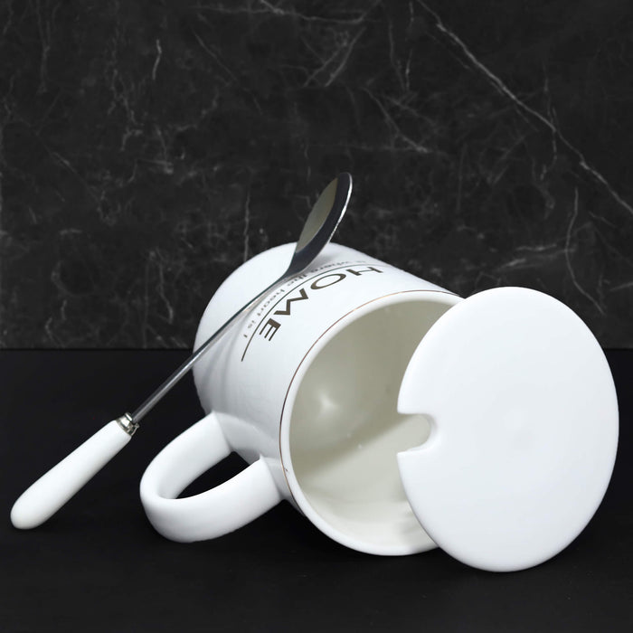 Home Ceramic Mug with Lid & Metal Spoon