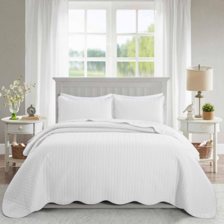 Ultrasonic Quilted Bedspread White - Cotton Passion