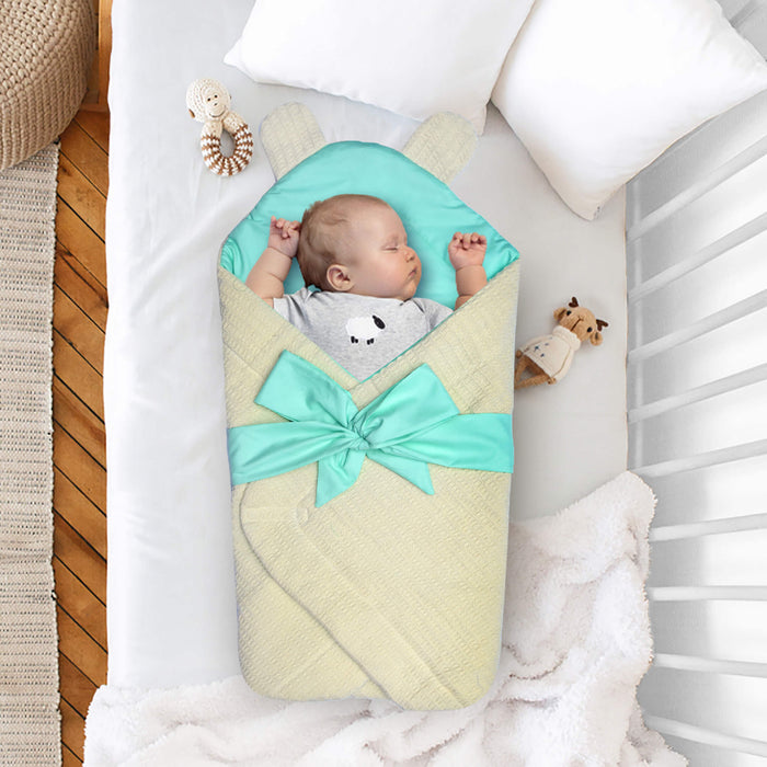 Yellow Mint Bear Ears Baby Wrap - Cotton Passion