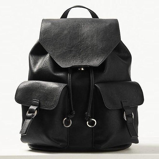 Casual Ring Black Leather Backpack - Cotton Passion