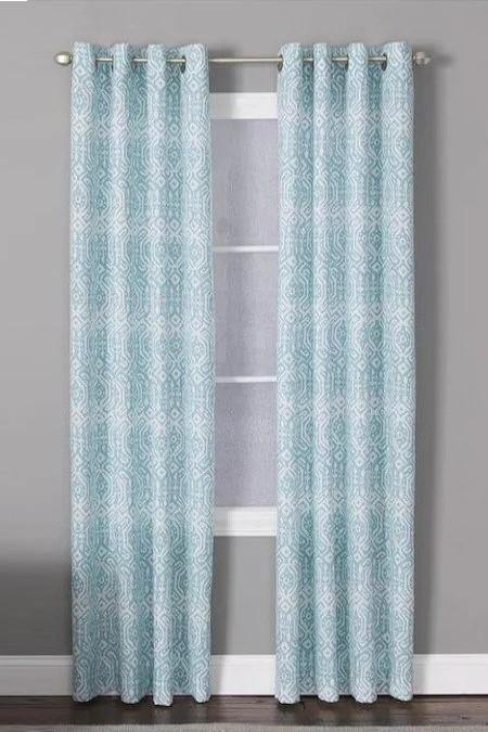 Indy Teal Polyester Light Filtering Single Curtain Panel - Cotton Passion