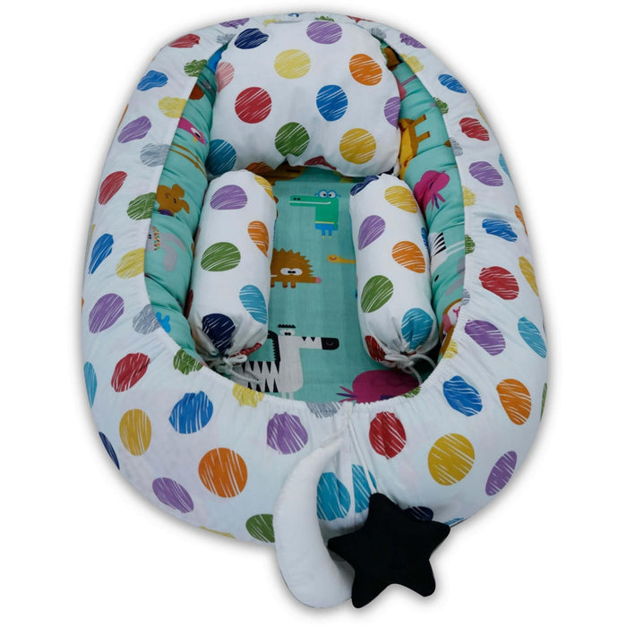 Baby Animal with polka dots Snuggle Bed - Cotton Passion