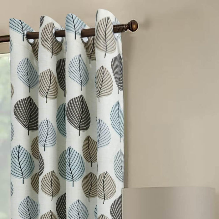 Blue Leaves Polyester Light Filtering Single Curtain Panel - Cotton Passion