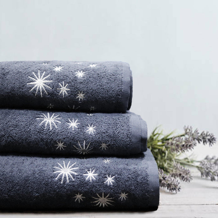 Embroided Soft Towel Grey - Cotton Passion