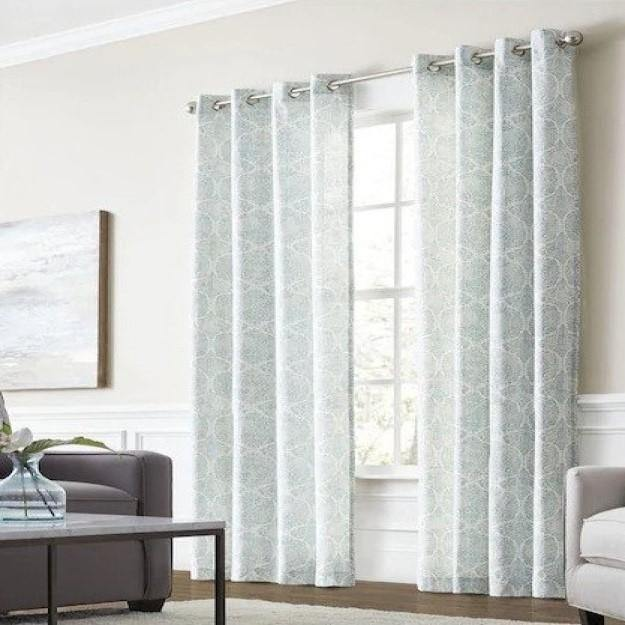 Lapeer Seaglass Cotton Light Filtering Single Curtain Panel - Cotton Passion