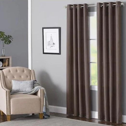 Delmar Chocolate Polyester Light Filtering Single Curtain Panel - Cotton Passion