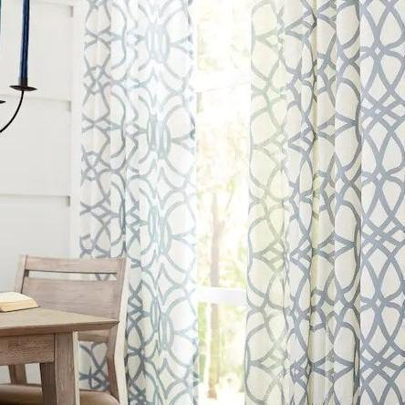Oberlin Lite Blue Cotton Light Filtering Single Curtain Panel - Cotton Passion