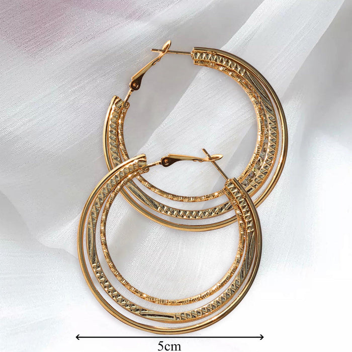 3 Layered Hoop Earrings - Cotton Passion