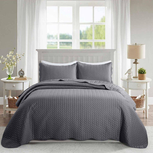Ultrasonic Quilted Bedspread Grey - Cotton Passion