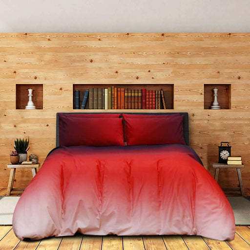 Ombre Red Pure Cotton Bedsheet - Cotton Passion