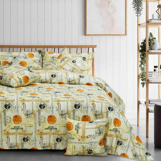 World Globe Style Cotton Bedsheet - Cotton Passion