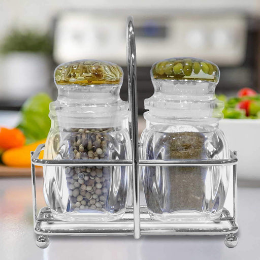 3 Pcs Salt & Pepper Set with Metal Stand - Cotton Passion