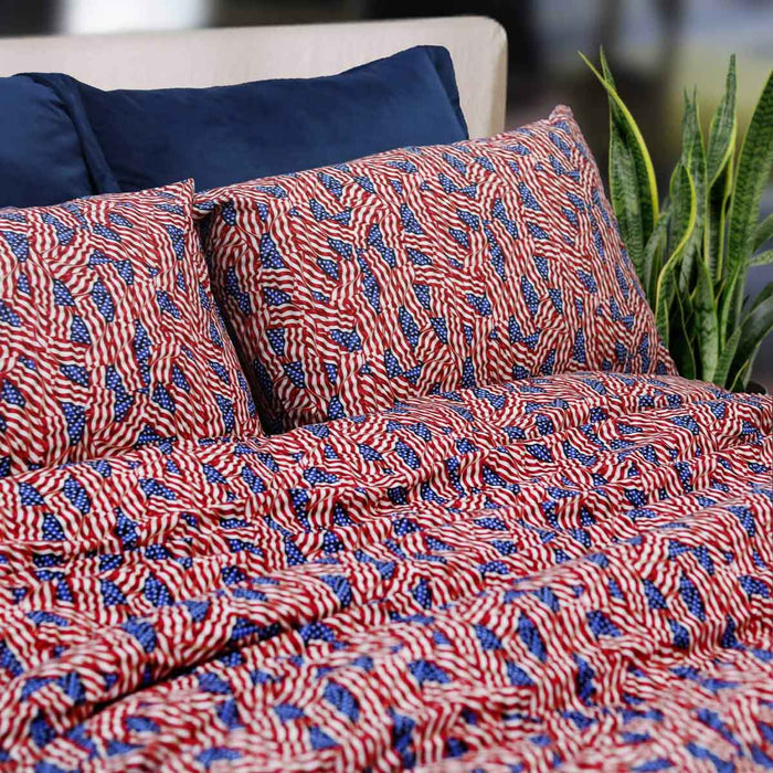 American Flag Style Pure Cotton Bedsheet - Cotton Passion