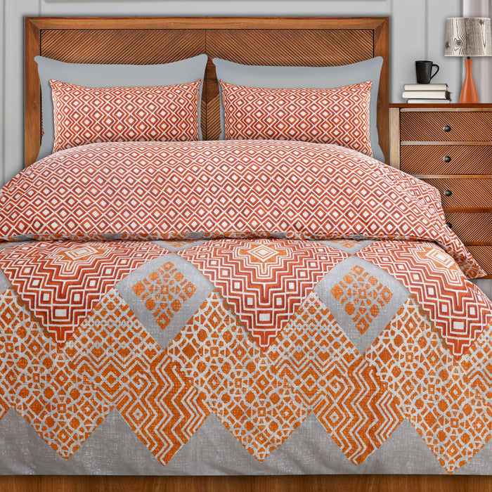 Geometrical Orange Style Double Bedsheet - Cotton Passion