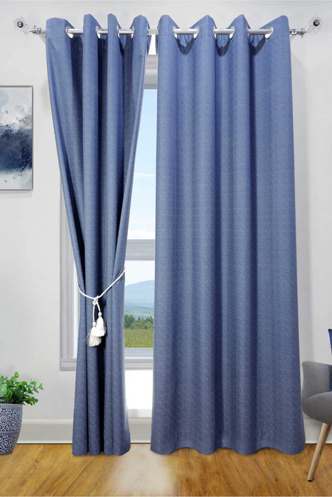 Dotted blue Blackout Curtain - Cotton Passion