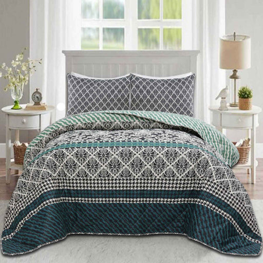 Green Houdstooth Polycotton Bedspread Set - Cotton Passion